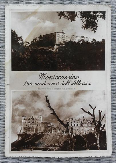 Foto Tipo Postal Abadia Montecassino Después Bombardeo 1944