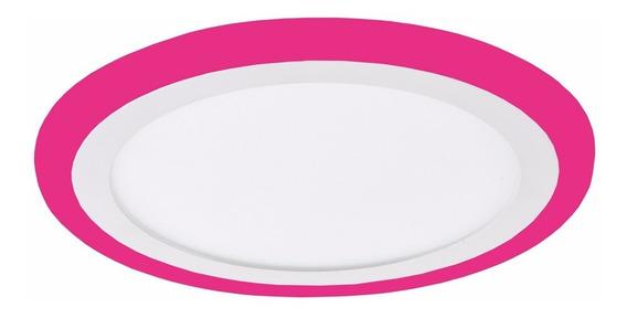 Kit 2 Plafon Redondo Embutir Led 21w Branco Rosa Color 3073
