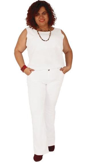 Calça Flare Madeleine - Sarja Com Strech Plus Size 46 Ao 60