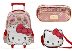 Kit Mochila Rodinha Lancheira Estoj Hello Kitty Lovely Kitty