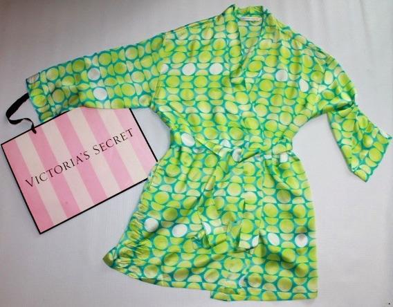 Victoria Secret Bata Satinada De Lunas Verde Unitalla