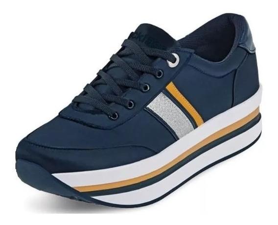 Tenis Sneakers Dama Mujer Moda Plataforma Comodo Azul Casual