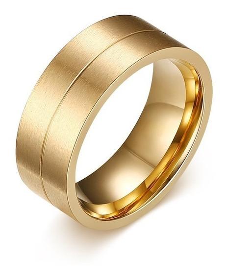 Aliança/anel 8mm Escovado Folheado A Ouro 18k Unidade