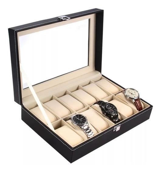 Caja Relojes 12 Rejillas Joyas Organizadora Exhibidor Alajer