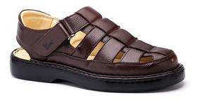 Sandália Masculina 321 Em Couro Floater Café Doctor Shoes