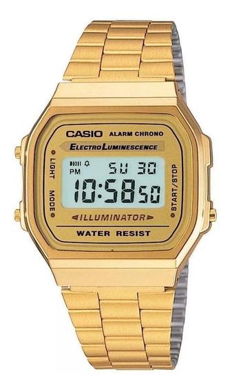 Relogio Casio Unisex A168 Retrô-vintage Dourado A168ewg-9wdf + Nota Fiscal + 12 X Sem Juros