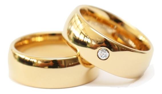Alianças De Tungstênio Banhada Ouro 18k Com Brilhante Noiva
