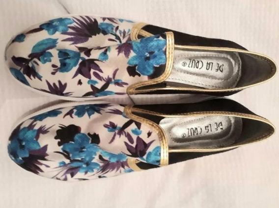 Zapato Stillettos N 39 Negro Y Azul Alpargatas Con Goma