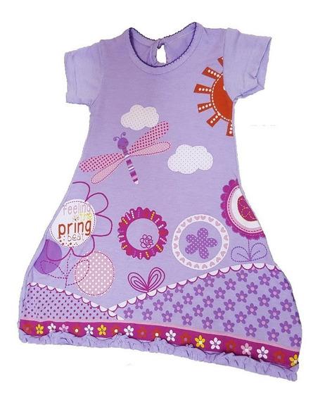 Remeron Vestido Modal Estampado C/boton Talle 1 Al 5 Bebe