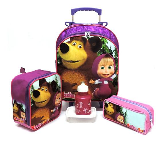 Kit Mochila Infantil Masha E O Urso Rodinhas M + Lancheira