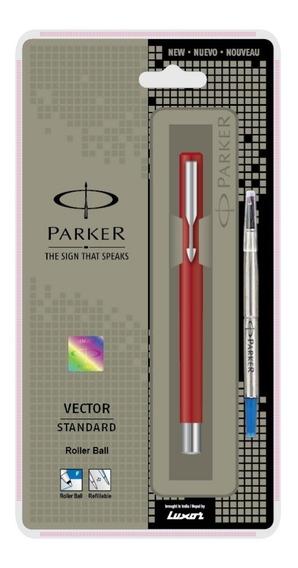 Caneta Parker Vector Roller Ball Aço Inox + Blister Original