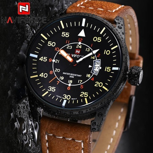 Relógio Naviforce 9044 Esportivo Militar Couro + Brinde
