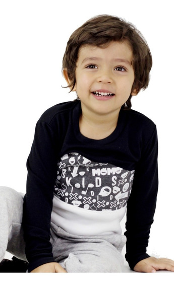 Sweater Sudadera Niño Momo Kids Negro Detal Mayor Oferta