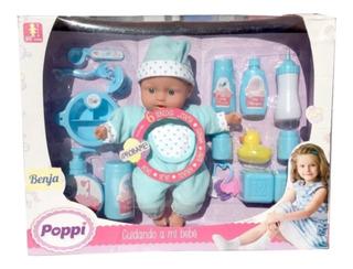 Muñeca Poppi Cuidando A Mi Bebe 15 Accesorios Y 6 Sonidos
