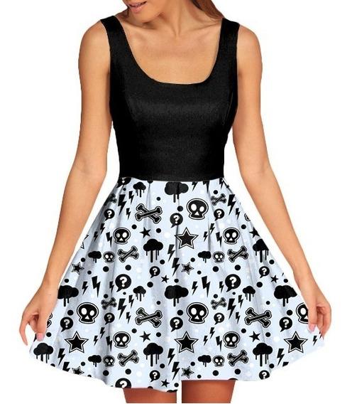 Vestido Feminino Doll Boneca Caveira Skull Swag Tumblr Retro