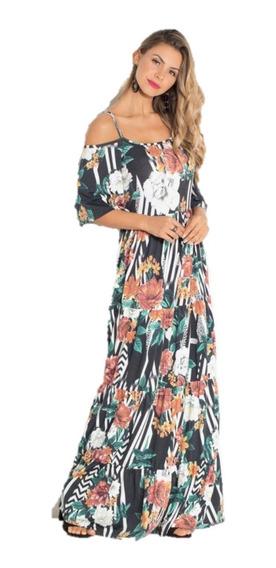 Vestido Longo Ombros De Fora Ciganinha Floral E Listras