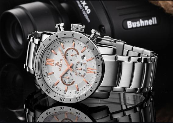 Relógio Megir Mg3008g Luxo, Masculino, Original, Grande