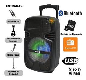 Caixa De Som Bluetooth Portátil 80w Rádio Fm Usb Aux Vicini