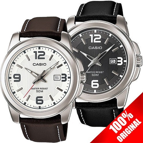 Reloj Casio Caballero Mtp1314 Piel Fechador Cristal Mineral