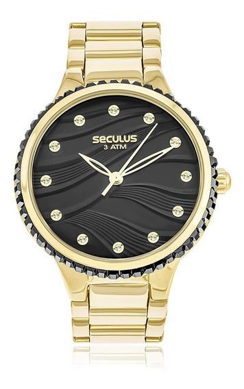 Relógio Feminino Seculus Ref 13018lpsvds3 Dourado