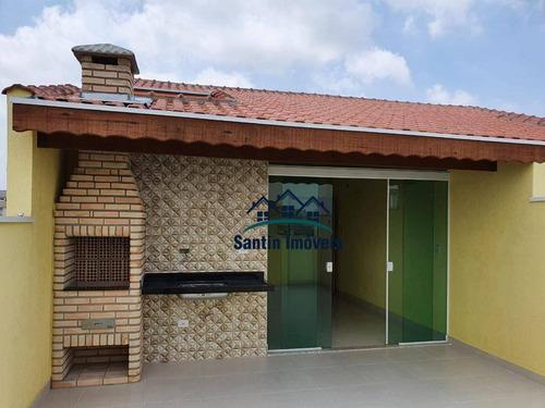 Cobertura Com 2 Quartos, Churrasqueira, Lavanderia, Lavabo,, Fino Acabamento, 02 Vagas   À Venda, 90 M² - Vila Alto De Santo André - Santo André/sp - Co0468