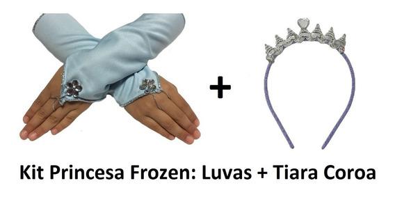 Kit Luvas Infantil E Tiara Coroa Princesa Bela Sofia Aurora