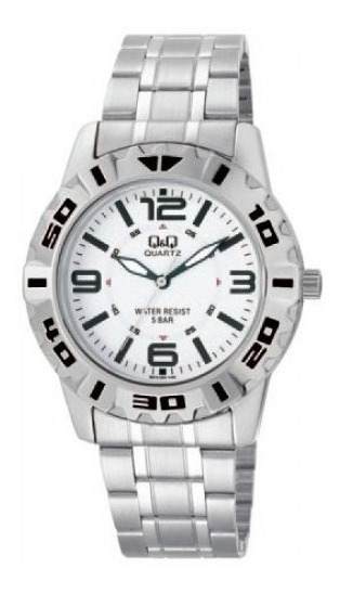 Relógio Masculino Aço Prata Fundo Branco Grande Q&q