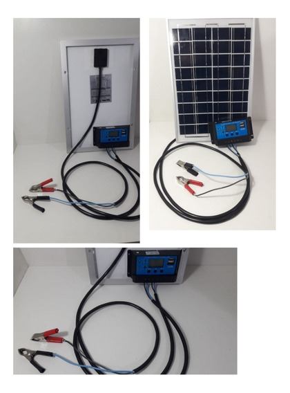 Kit Placa Solar 10w Controlador Usb Cargas Bateria Cerca Ele