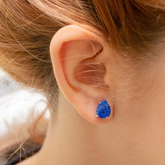 Brinco Feminino Gota Zircônia Azul Safira Rutilada Prata 925