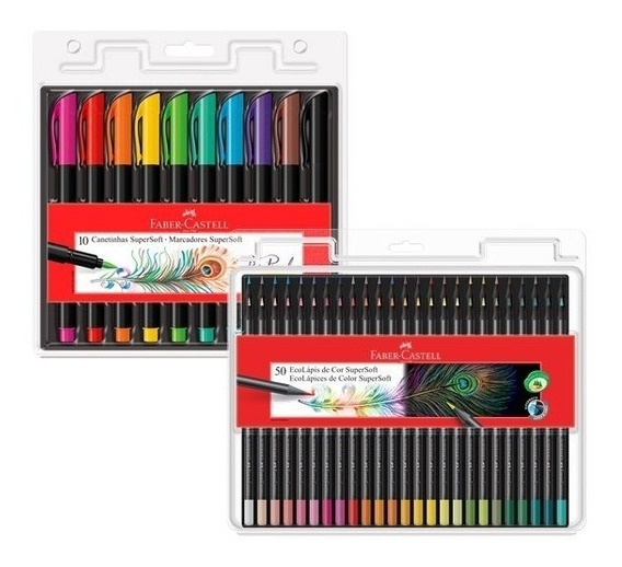 Caneta Brush Pen + Lápis De Cor Super Soft 50 Faber Castell