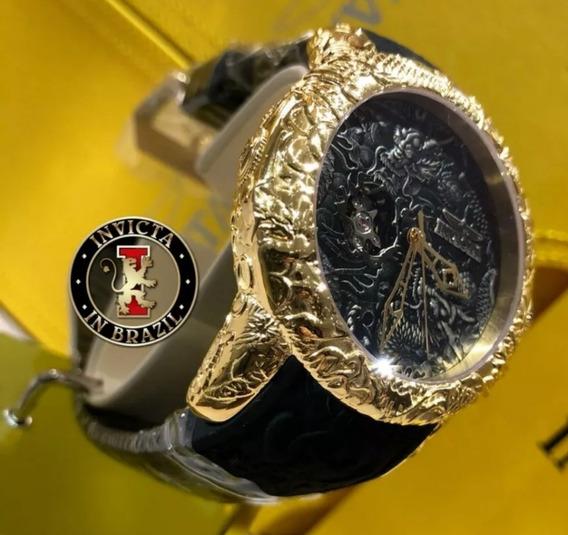 Relógio Marca Invicta Modelo Yakuza Rally S2 Banhado À Ouro,