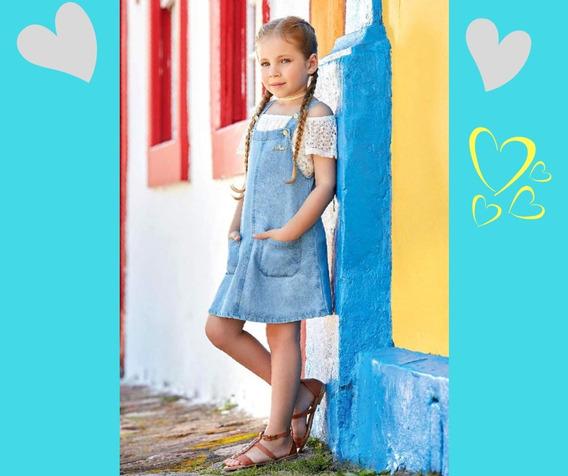 Roupa Criança Jardineira Jeans Saia Infantil Menina