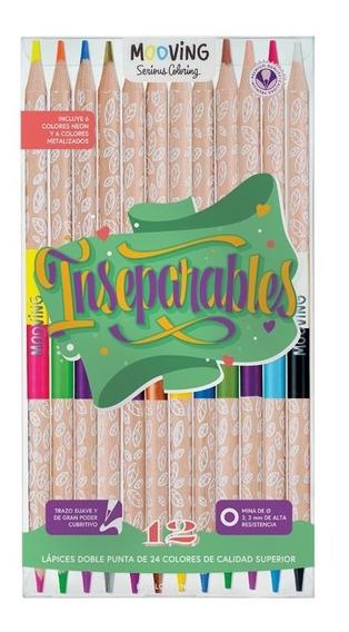 Lapices De Colores Mooving X12 Bicolores 24 Colores