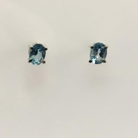 Brinco Topazio Azul Natural Oval 3x5 Prata 925 Ml (r)