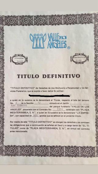 Lote Funerario Valle De Los Ángeles Puebla