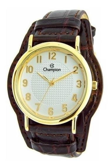 Relógio Champion Feminino Couro Marrom + Colar E Brincos