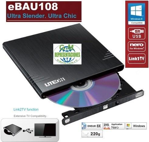 Quemador Externo Liteon Dvd Ultradelgado Usb Link2tv Negro