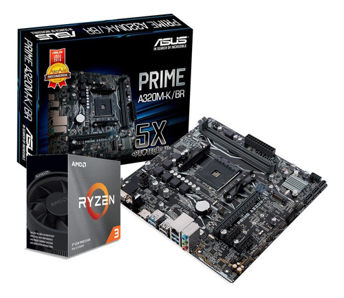 Kit Processador Amd Ryzen 3 3100 Asus A320m-k/br