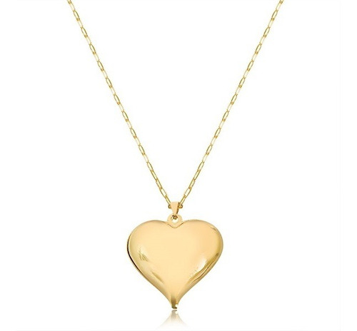 Colar Coração Max Cartier Semijoia Banhado A Ouro Amarelo