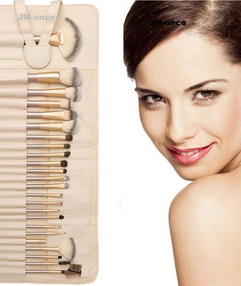 Kit Set 24 Brochas Pinceles Maquillaje Naturales Y Sintetico