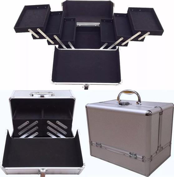 Maletin Maquillaje Aluminio Profesional Porta Cosmeticos Pvc 6 Bandejas Reina Casa