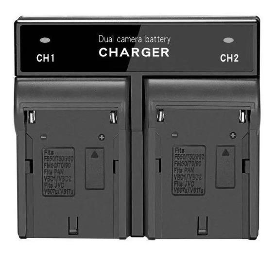 Carregador Duplo P/ Bateria De Led Np-f550 F570 Np-f970 Nfe