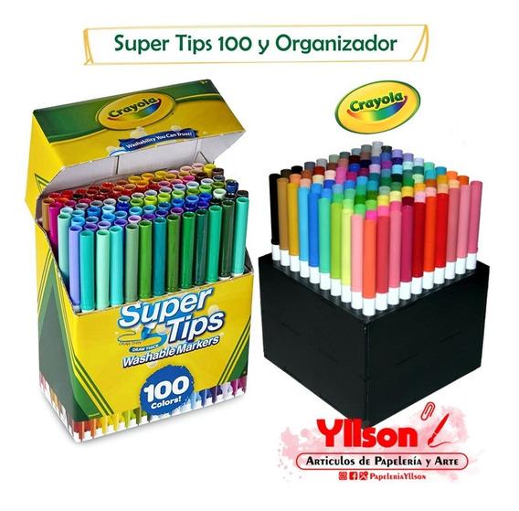 Crayola Super Tips 100 Plumones De Colores Y Organizador Mdf