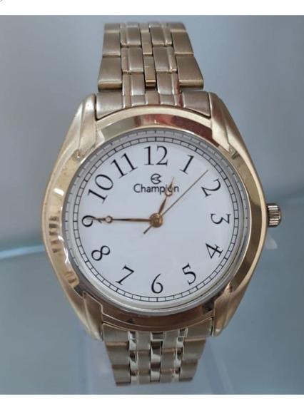 Relógio Champion Feminino Dourado Ch22019w + Semi Jóias