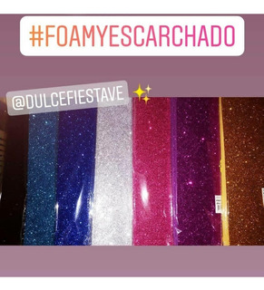 Foami Escarchado, Cartulina Escarchada, Dorada, Plateada.