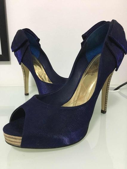 Sapato Seminovo Azul Marinho Com Laço