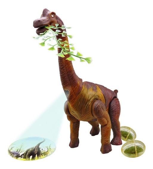 Dinossauro Braquiossauro Som Luz Movimento E Projeta Imagem
