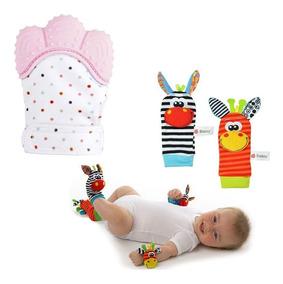 Kit Chocalho 4 Peças Bebê Pé Mão + 1 Luva Mordedor Luvinha