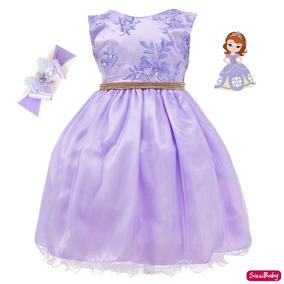 e21db23090 Vestido Infantil Princesa Sofia Rapunzel Bebê Faixa Promoção