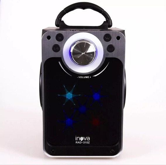 Caixa Som Amplificada Inova Portatil Bluetooth Usb Luz